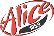 The Alice 105.9 logo in red and black.