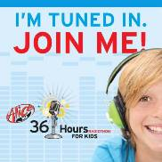 "A boy with headphones on says ""I'm tuned in. Join me!"""