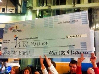 A group of people hold of a large check made out to Children's Hospital Colorado for $1.87 million.