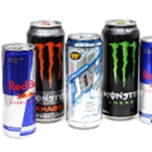A collection of energy drinks including Red Bull and Monster.