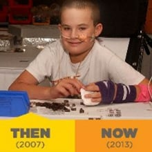 Pictures of a Children's Hospital Colorado patient playing with Legos in 2007 and 2013.