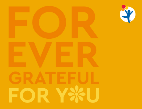 "An orange image with text that reads: ""Forever grateful for you"""