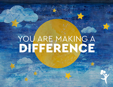 """You are making a difference"" message written over a scene of the moon and stars"