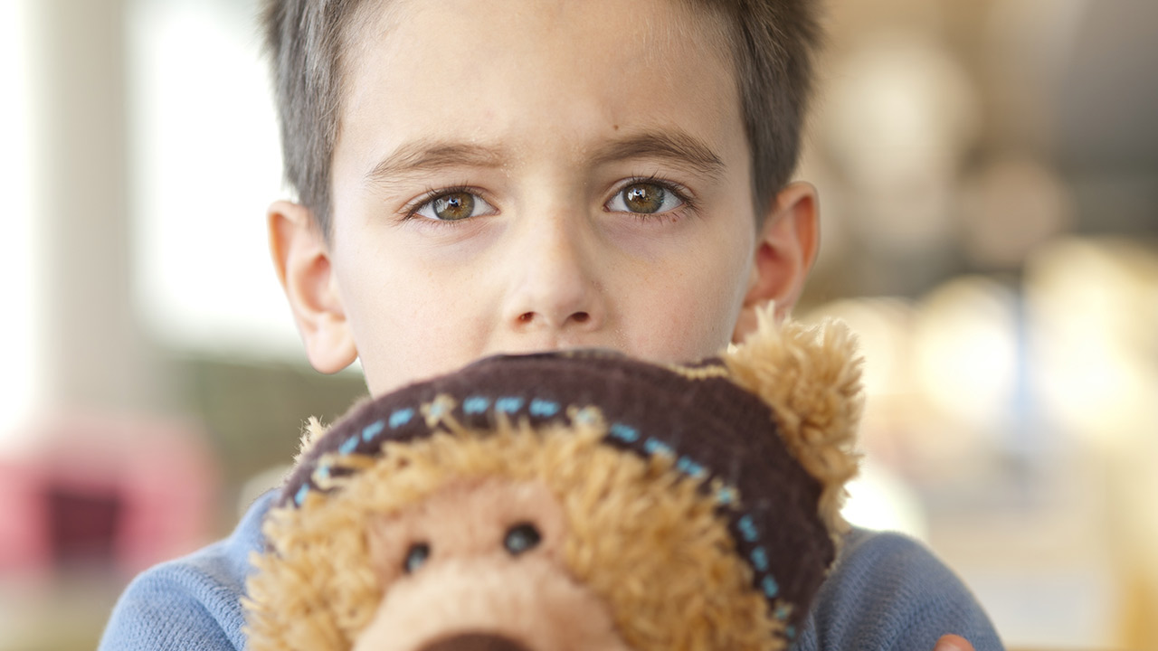 A closeup of a boy with short brown hair and wearing a blue sweater holding a light brown teddy bear with a dark brown hat.