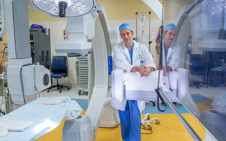 Dr. Morgan in the Cardiac Catheterization Program lab