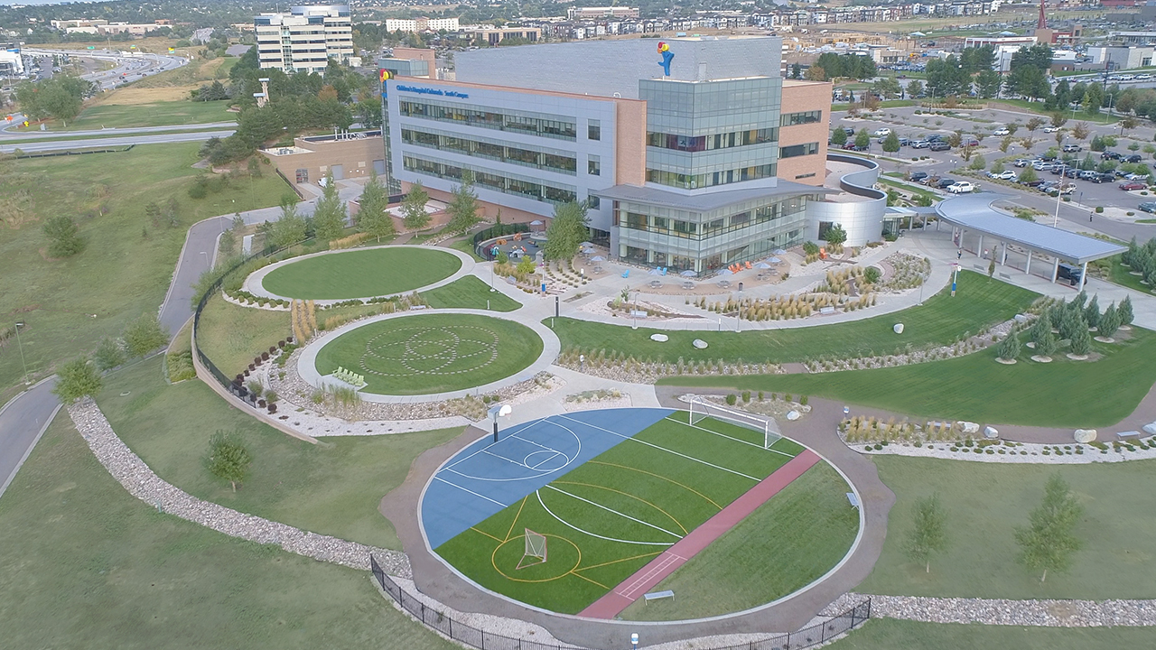 Aerial view of the Sports Therapy Field at Children's Colorado's South Campus in Highlands Ranch