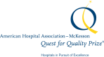 A logo of a blue circle with a curved yellow line and the words American Hospitality Association - McKesson Quest for Quality Prize.