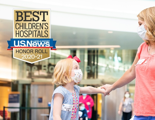 A mom and daughter wear masks at Children's Hospital Colorado, which ranked in the Top 10 of children's hospitals.
