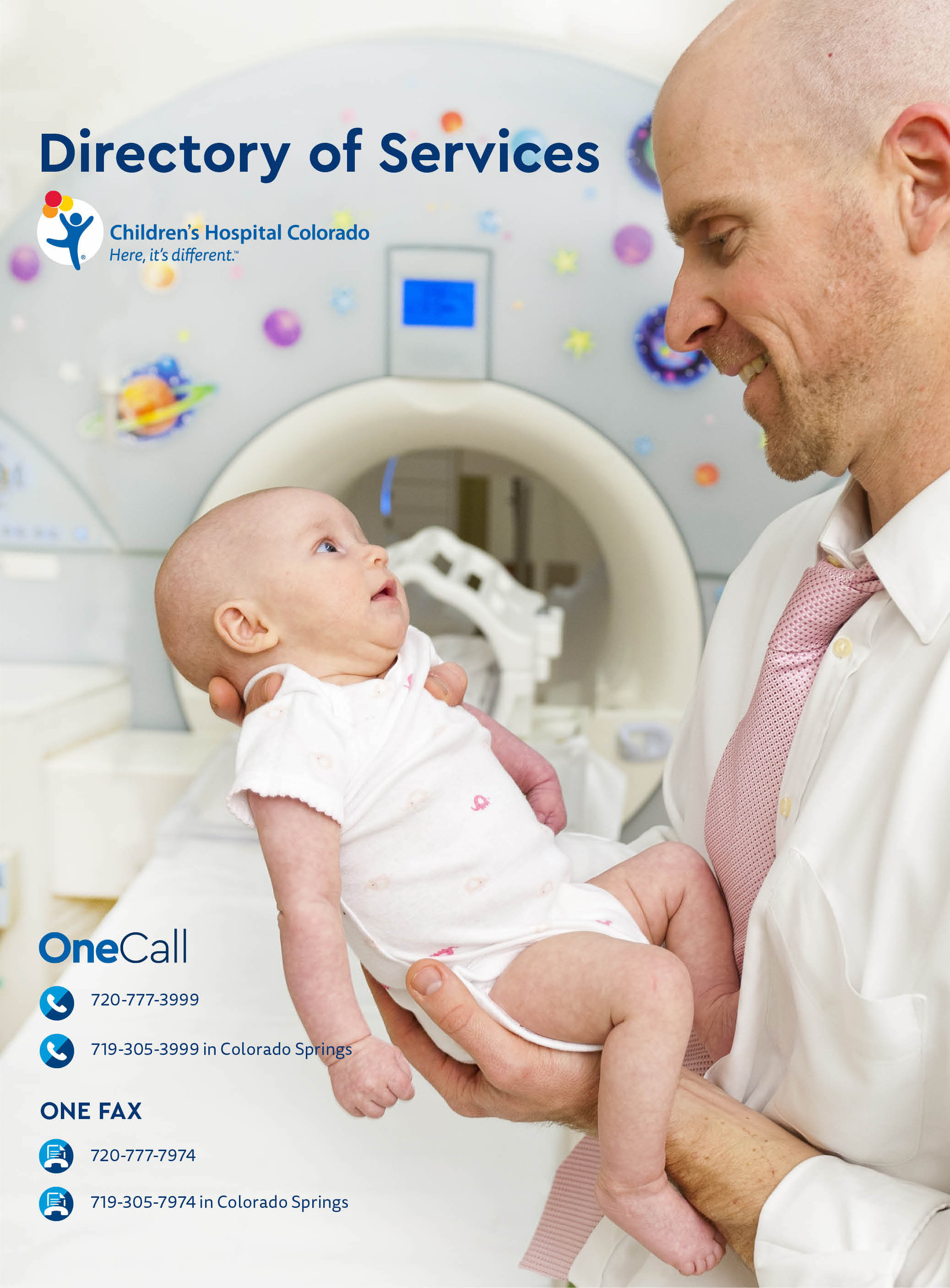 The cover image of the 2018 Children's Hospital Colorado Directory of Services book with a doctor listening to a little boy's chest using her stethoscope. He is wearing a t-shirt with blue stripes and she is wearing a white lab coat.