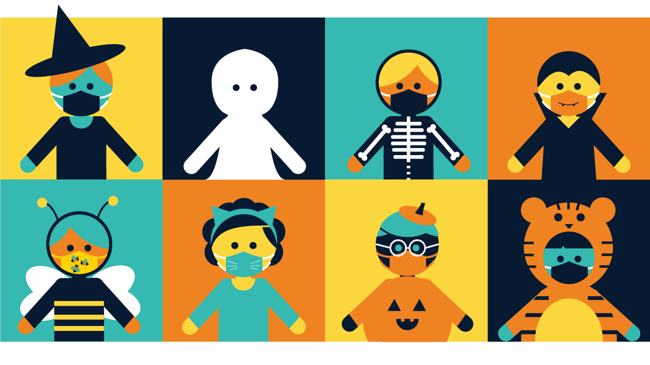 Illustrated characters are dressed up for Halloween in costumes, like ghosts and pumpkins, while wearing face coverings.