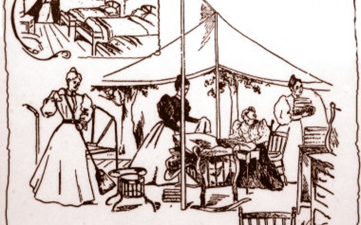 A drawing of what the hospital looked like in 1897 with women caring for patients under a tent