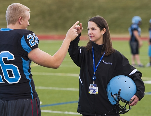 A Sports Medicine Center physician tests for concussion.