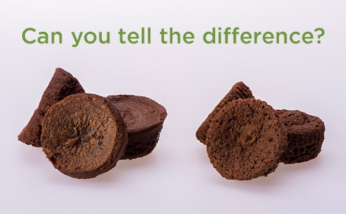 Two sets of similar brownies set up side by side with the caption: Can you tell the difference?