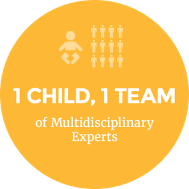 A yellow circle with a small baby icon and 12 people icons above the words 1 Child, 1 Team of Multidisciplinary Experts.