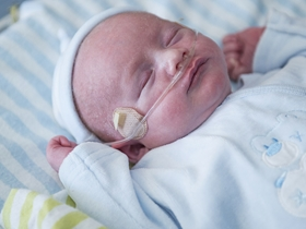 Close-up of sleeping baby with oxygen tube in nostrils. Dressed in blue, lying in the NICU.