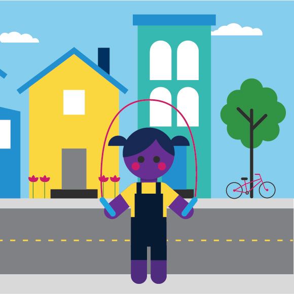 Illustration showing a school-age girl skipping rope in her neighborhood.