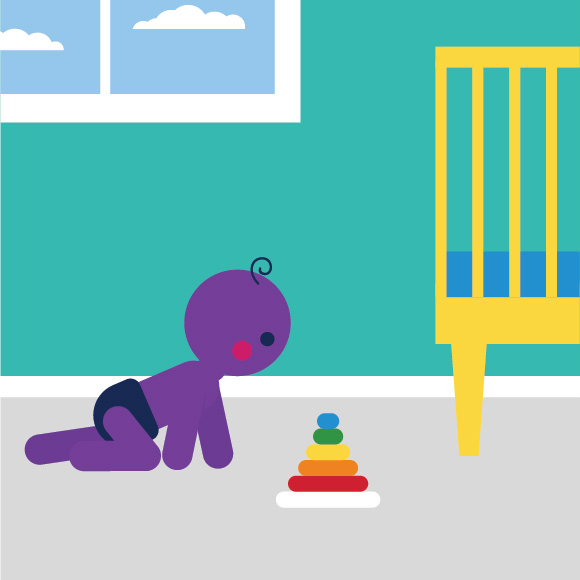 Illustration showing a baby crawling in their nursery.
