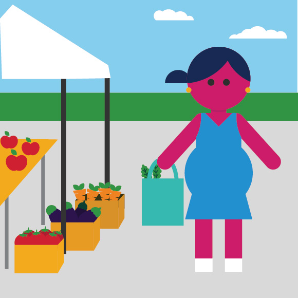 Illustration showing a healthy pregnant mom at a vegetable stand at the farmer's market.