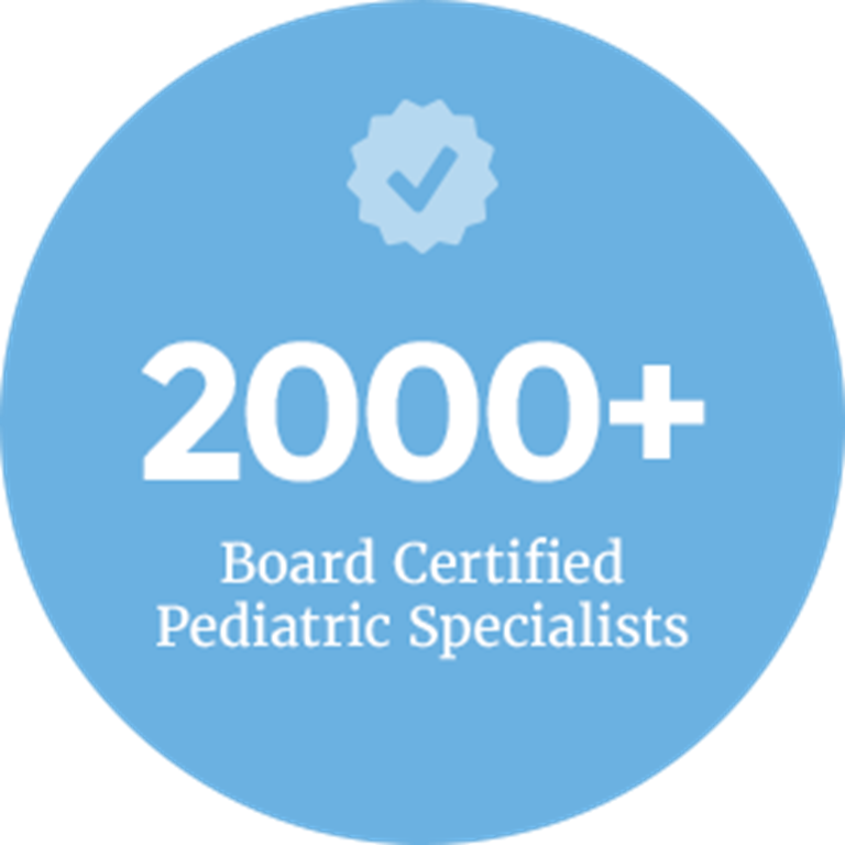A light blue circle with a checkmark award icon above the words 2000+ Board Certified Pediatric Specialists.