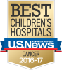 "A gold shield that says ""Best Children's Hospitals Cancer 2016-17"" with a blue and red ribbon across the middle that says ""U.S. News and World Report""."