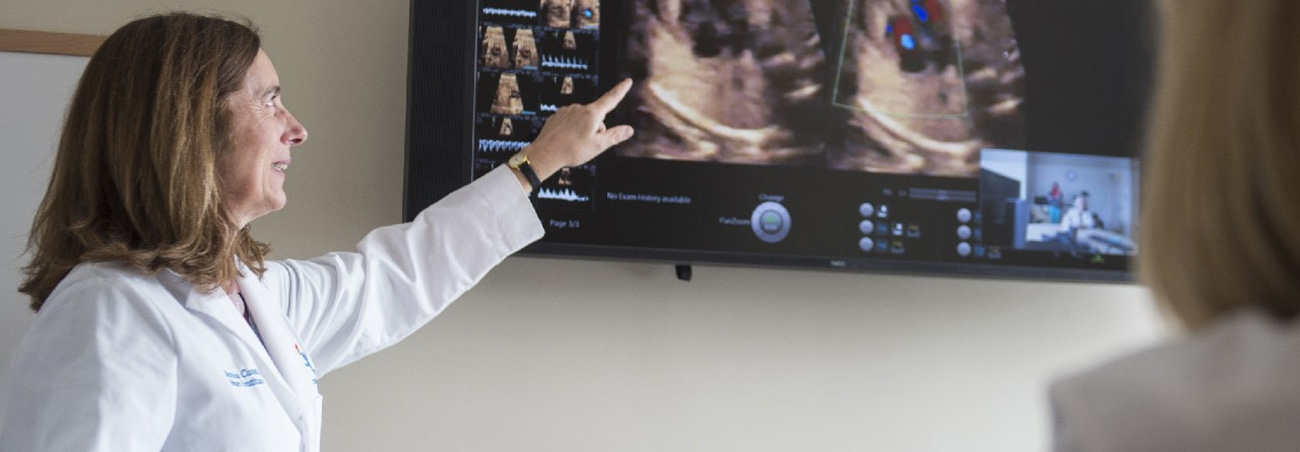 A woman doctor in a white lab coat points to an ultrasound on a large tv screen.