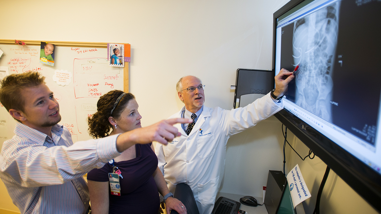 Providers review a heart chest x-ray