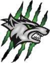 A logo of a gray wolf with green eyes and green scratch marks across it.