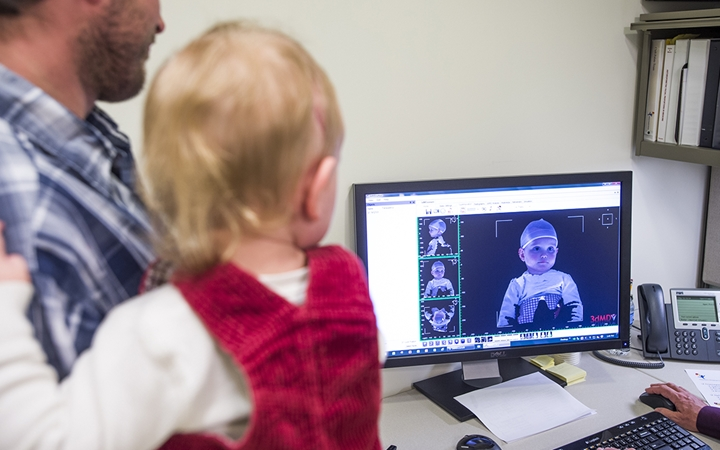 A close-up of the 3-D image of the baby on a computer screen.