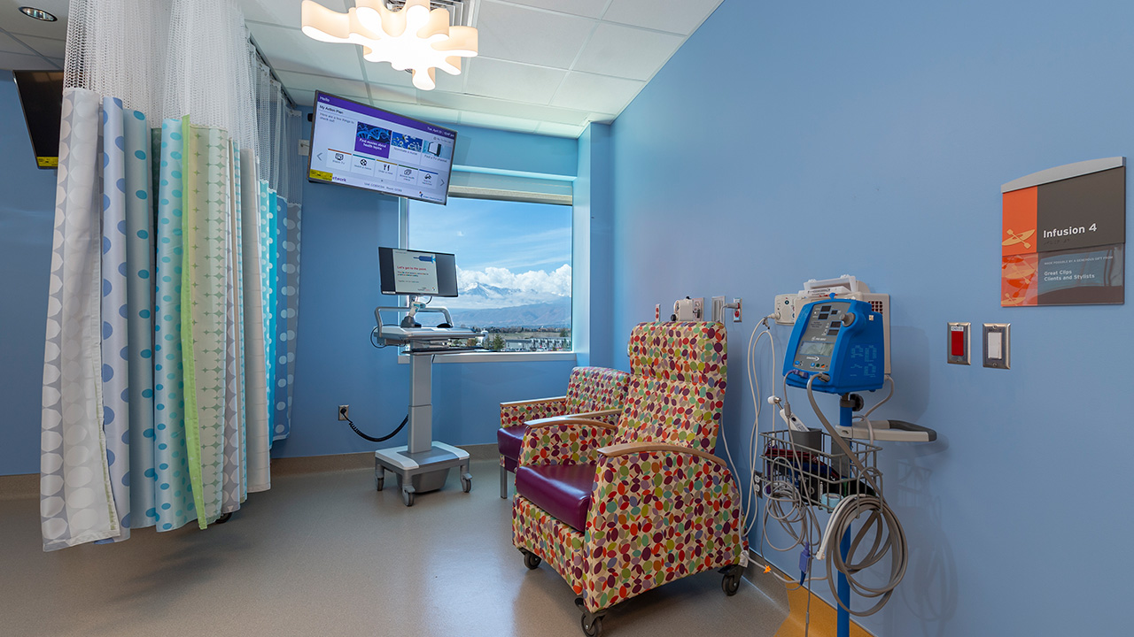 Cancer infusion room at Children's Hospital Colorado, Colorado Springs