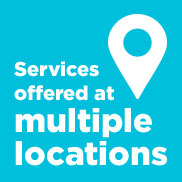 "A teal background with white lettering of a location icon and the words ""Services offered at multiple locations""."