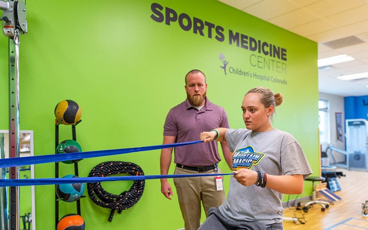 Children's Colorado patient at the Sports Therapy Gym in Parker