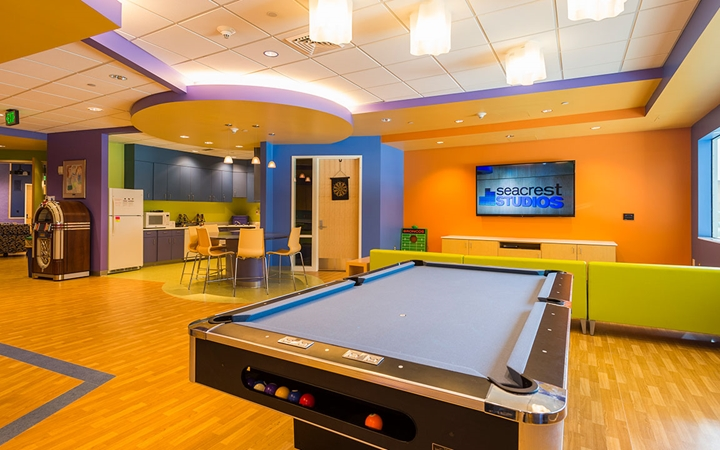 Pool table and lounge in the Teen Zone at Children's Colorado