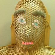 A mask created by a child going through radiation therapy for cancer