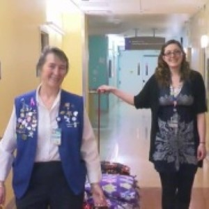 Donna Matson (left) and her granddaughter Kaela deliver blankets to patients at Children's Hospital Colorado