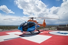 The Children's Hospital Colorado helicopter sits on the roof of the hospital.
