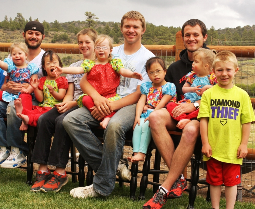The Westbrook family lives in Durango with 10 kids, five of whom have Down syndrome. This is a family photo of all of the children.