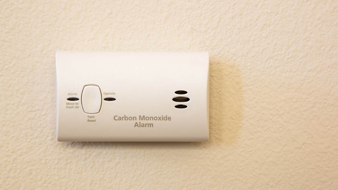 A white carbon monoxide alarm attached to a light beige wall.