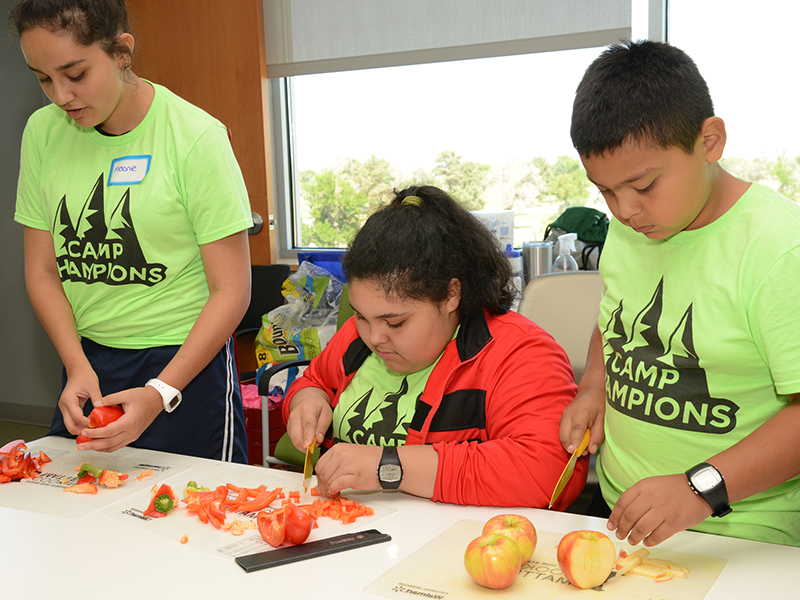 Three kids wearing camp shirts chop tomatoes and apples.