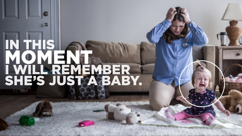 "A mom looks stressed while a toddler cries. It says ""In this moment I will remember she's just a baby""."