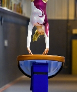 A girl wearing a purple and white leotard does a handspring over a vault.