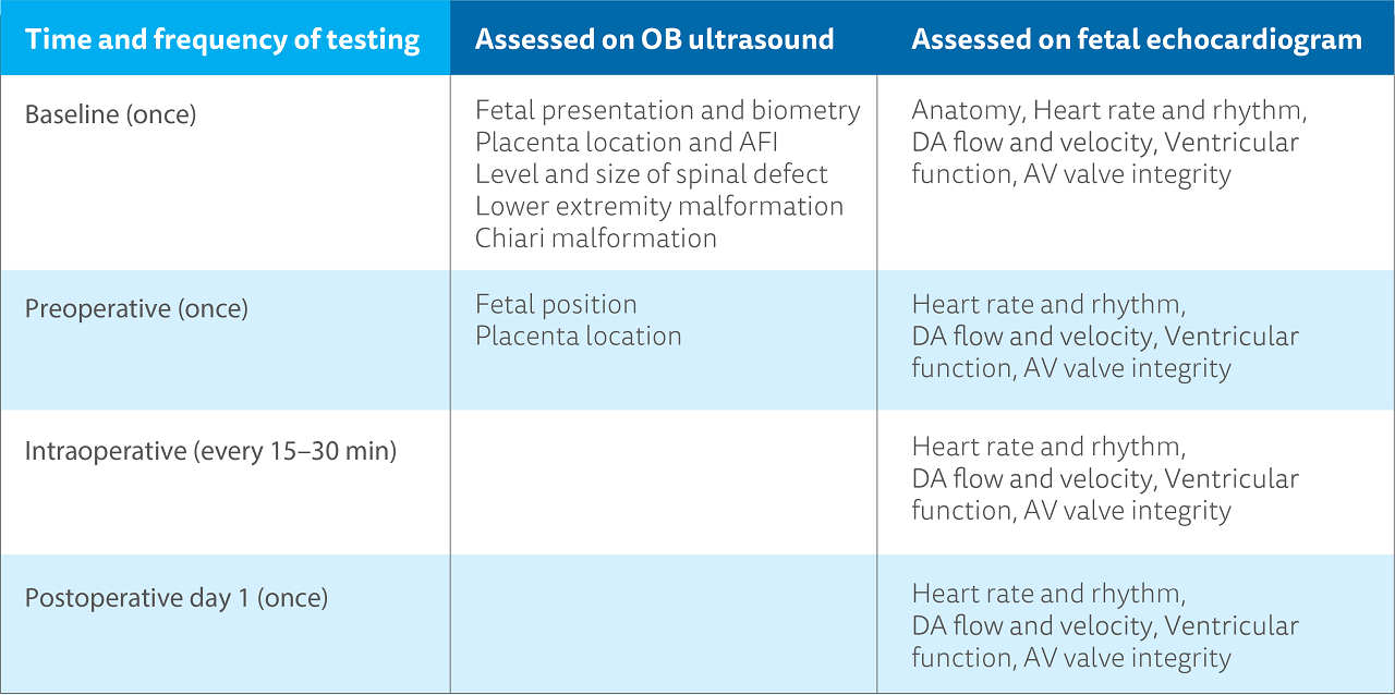 A table outlining the time and frequency of testing, what is assessed on the OB ultrasound, and what is assessed on a fetal echocardiogram.