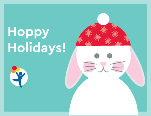 "A bunny wearing a winter hat says ""Hoppy Holidays!"""