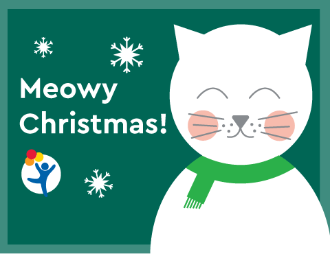 "A kitten says ""Meowy Christmas!"""